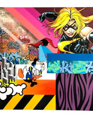 Sket185, Dutch Graffiti / Street Artist, Ms Marvel 100cm x 100cm